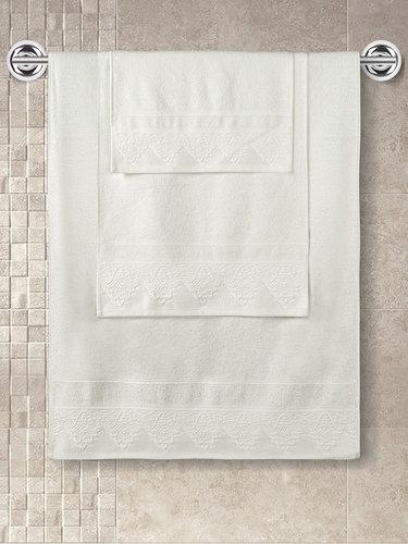 Полотенце для ванной Karna SIESTA хлопковая махра кремовый 50х90, фото, фотография