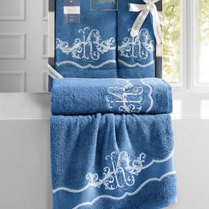 Подарочный набор полотенец для ванной 50х90, 70х140 Karna ADVEN хлопковая махра небесный синий