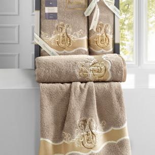 Подарочный набор полотенец для ванной 50х90, 70х140 Karna ADVEN хлопковая махра кофейный