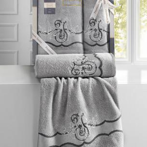 Подарочный набор полотенец для ванной 50х90, 70х140 Karna ADVEN хлопковая махра серый