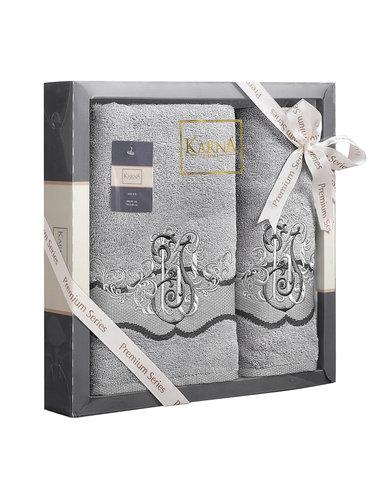 Подарочный набор полотенец для ванной 50х90, 70х140 Karna ADVEN хлопковая махра серый, фото, фотография
