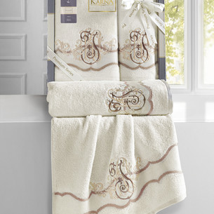 Подарочный набор полотенец для ванной 50х90, 70х140 Karna ADVEN хлопковая махра кремовый