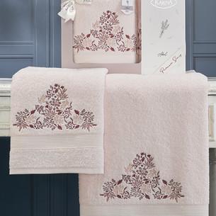 Подарочный набор полотенец для ванной 50х90, 70х140 Karna ABEL хлопковая махра светло-розовый