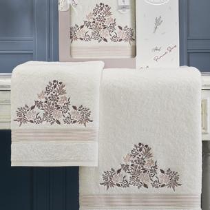 Подарочный набор полотенец для ванной 50х90, 70х140 Karna ABEL хлопковая махра кремовый