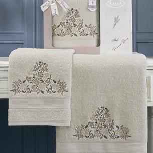 Подарочный набор полотенец для ванной 50х90, 70х140 Karna ABEL хлопковая махра бежевый