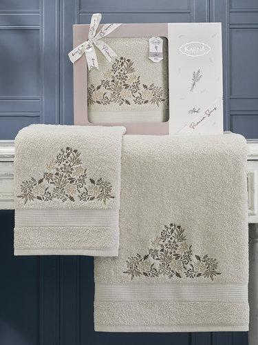 Подарочный набор полотенец для ванной 50х90, 70х140 Karna ABEL хлопковая махра бежевый, фото, фотография