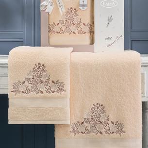 Подарочный набор полотенец для ванной 50х90, 70х140 Karna ABEL хлопковая махра абрикосовый