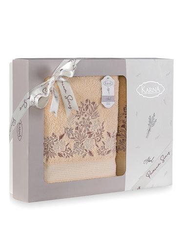 Подарочный набор полотенец для ванной 50х90, 70х140 Karna ABEL хлопковая махра абрикосовый, фото, фотография