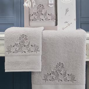 Подарочный набор полотенец для ванной 50х90, 70х140 Karna ABEL хлопковая махра сиреневый