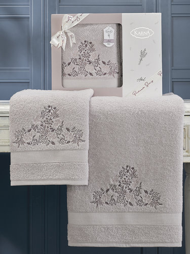 Подарочный набор полотенец для ванной 50х90, 70х140 Karna ABEL хлопковая махра сиреневый, фото, фотография