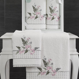 Подарочный набор полотенец для ванной 50х90, 70х140 Karna BONDI хлопковая махра V4