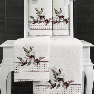 Подарочный набор полотенец для ванной 50х90, 70х140 Karna BONDI хлопковая махра V2
