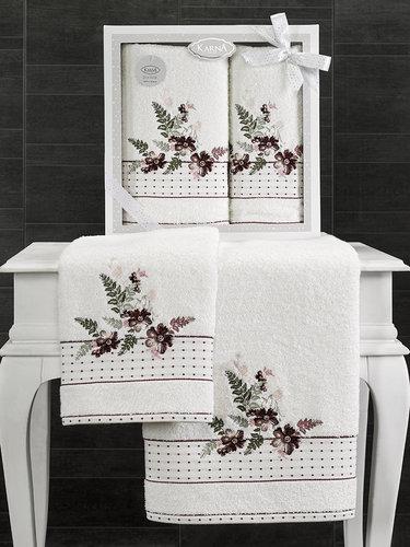 Подарочный набор полотенец для ванной 50х90, 70х140 Karna BONDI хлопковая махра V2, фото, фотография