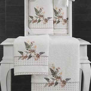 Подарочный набор полотенец для ванной 50х90, 70х140 Karna BONDI хлопковая махра V1