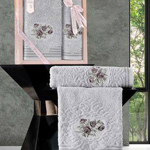 Подарочный набор полотенец для ванной 50х90, 70х140 Karna STELLA хлопковая махра светло-серый