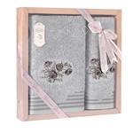 Подарочный набор полотенец для ванной 50х90, 70х140 Karna STELLA хлопковая махра светло-серый, фото, фотография