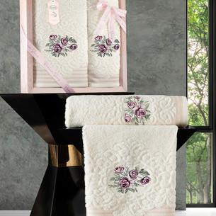 Подарочный набор полотенец для ванной 50х90, 70х140 Karna STELLA хлопковая махра кремовый