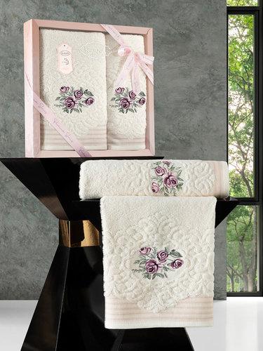 Подарочный набор полотенец для ванной 50х90, 70х140 Karna STELLA хлопковая махра кремовый, фото, фотография
