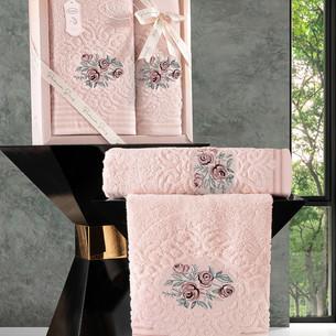 Подарочный набор полотенец для ванной 50х90, 70х140 Karna STELLA хлопковая махра абрикосовый