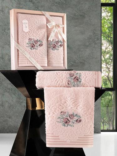 Подарочный набор полотенец для ванной 50х90, 70х140 Karna STELLA хлопковая махра абрикосовый, фото, фотография