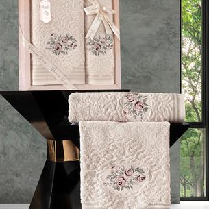 Подарочный набор полотенец для ванной 50х90, 70х140 Karna STELLA хлопковая махра бежевый