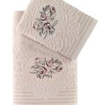 Подарочный набор полотенец для ванной 50х90, 70х140 Karna STELLA хлопковая махра бежевый, фото, фотография