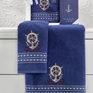 Подарочный набор полотенец для ванной 50х90, 70х140 Karna MARIN хлопковая махра королевский синий