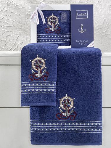 Подарочный набор полотенец для ванной 50х90, 70х140 Karna MARIN хлопковая махра королевский синий, фото, фотография