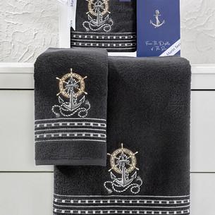 Подарочный набор полотенец для ванной 50х90, 70х140 Karna MARIN хлопковая махра антрацит