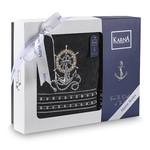 Подарочный набор полотенец для ванной 50х90, 70х140 Karna MARIN хлопковая махра антрацит, фото, фотография