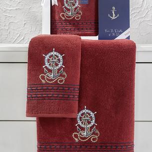 Подарочный набор полотенец для ванной 50х90, 70х140 Karna MARIN хлопковая махра бордовый