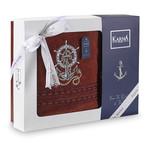 Подарочный набор полотенец для ванной 50х90, 70х140 Karna MARIN хлопковая махра бордовый, фото, фотография