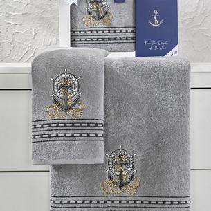 Подарочный набор полотенец для ванной 50х90, 70х140 Karna MARIN хлопковая махра серый