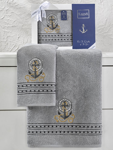Подарочный набор полотенец для ванной 50х90, 70х140 Karna MARIN хлопковая махра серый, фото, фотография