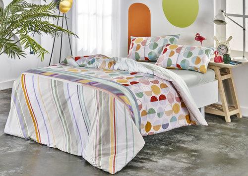 Комплект подросткового постельного белья TAC REED хлопковый ранфорс пудра евро, фото, фотография