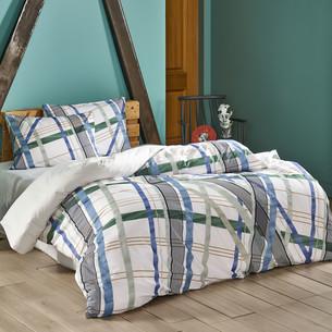 Комплект подросткового постельного белья TAC FISHER хлопковый ранфорс светло-зелёный 1,5 спальный