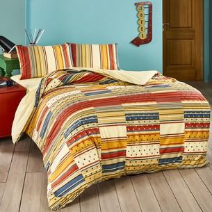 Комплект подросткового постельного белья TAC MARTIN хлопковый ранфорс кремовый, красный 1,5 спальный