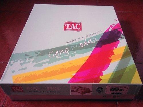 Комплект подросткового постельного белья TAC MARTIN хлопковый ранфорс кремовый, красный евро, фото, фотография