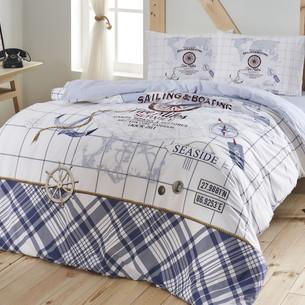 Комплект подросткового постельного белья TAC SEA SIDE хлопковый ранфорс синий 1,5 спальный