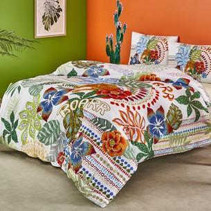 Комплект подросткового постельного белья TAC TESS хлопковый ранфорс зелёный, белый 1,5 спальный
