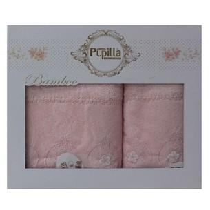 Набор полотенец для ванной в подарочной упаковке 2 пр. Pupilla ALVIN бамбуковая махра розовый