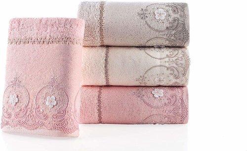 Набор полотенец для ванной в подарочной упаковке 2 пр. Pupilla ALVIN бамбуковая махра розовый, фото, фотография