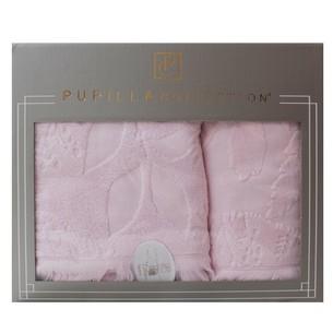 Набор полотенец для ванной в подарочной упаковке 2 пр. Pupilla AMAZON хлопковая махра светло-розовый