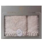 Набор полотенец для ванной в подарочной упаковке 2 пр. Pupilla ELIZ хлопковая махра бежевый, фото, фотография