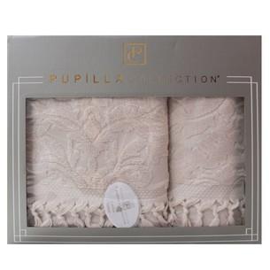 Набор полотенец для ванной в подарочной упаковке 2 пр. Pupilla ELIZ хлопковая махра бежевый