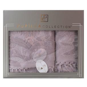 Набор полотенец для ванной в подарочной упаковке 2 пр. Pupilla ELIZ хлопковая махра сиреневый
