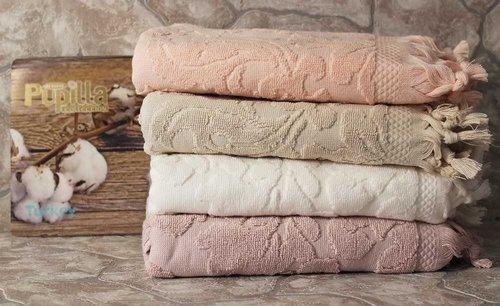 Набор полотенец для ванной в подарочной упаковке 2 пр. Pupilla ELIZ хлопковая махра сиреневый, фото, фотография