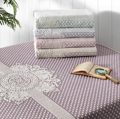 Махровая простынь-покрывало для укрывания Tivolyo Home HERMES хлопок фиолетовый 220х240, фото, фотография