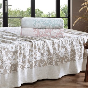 Махровая простынь-покрывало для укрывания Tivolyo Home LORI хлопок розовый 220х240