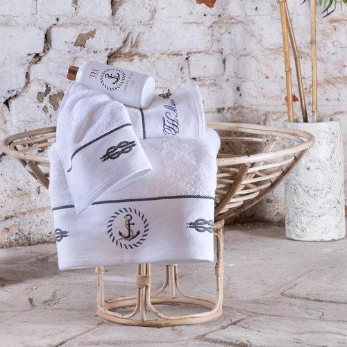 Подарочный набор полотенец для ванной 30х50, 50х100, 75х150 Tivolyo Home ANCHOR хлопковая махра белый, фото, фотография